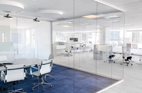 view of glass walls in a conference room